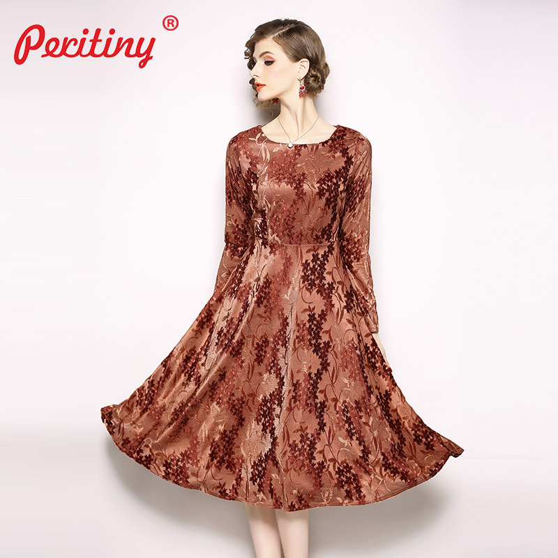 ada10b33f0f Peritiny Warm Dress Velvet 2019 Autumn Winter Dress For New Year  Knee-Length Jacquard Floral. US  23.33. Peritiny Butterfly Sleeve Blouse  Women ...