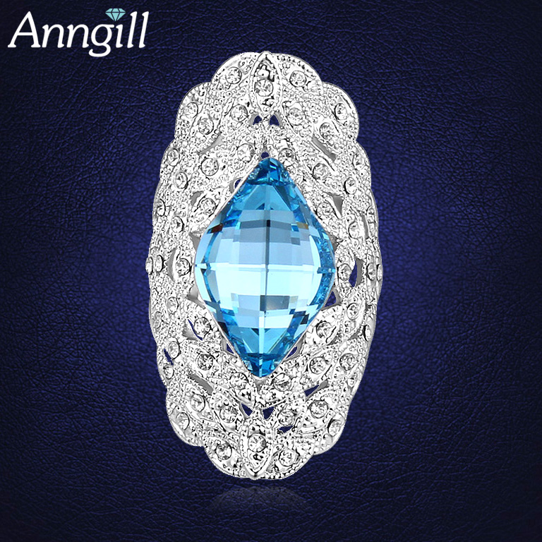 Hot Sale Retro Hollow Ring Jewelry With Swarovski Elements Crystal Wedding Jewelry Rings For Women