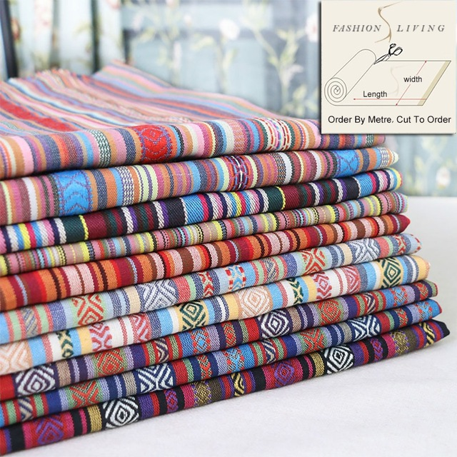 150cm Wide Bohemian Rainbow Striped Fabric Upholstery Boho Home Decor Fashion Craft