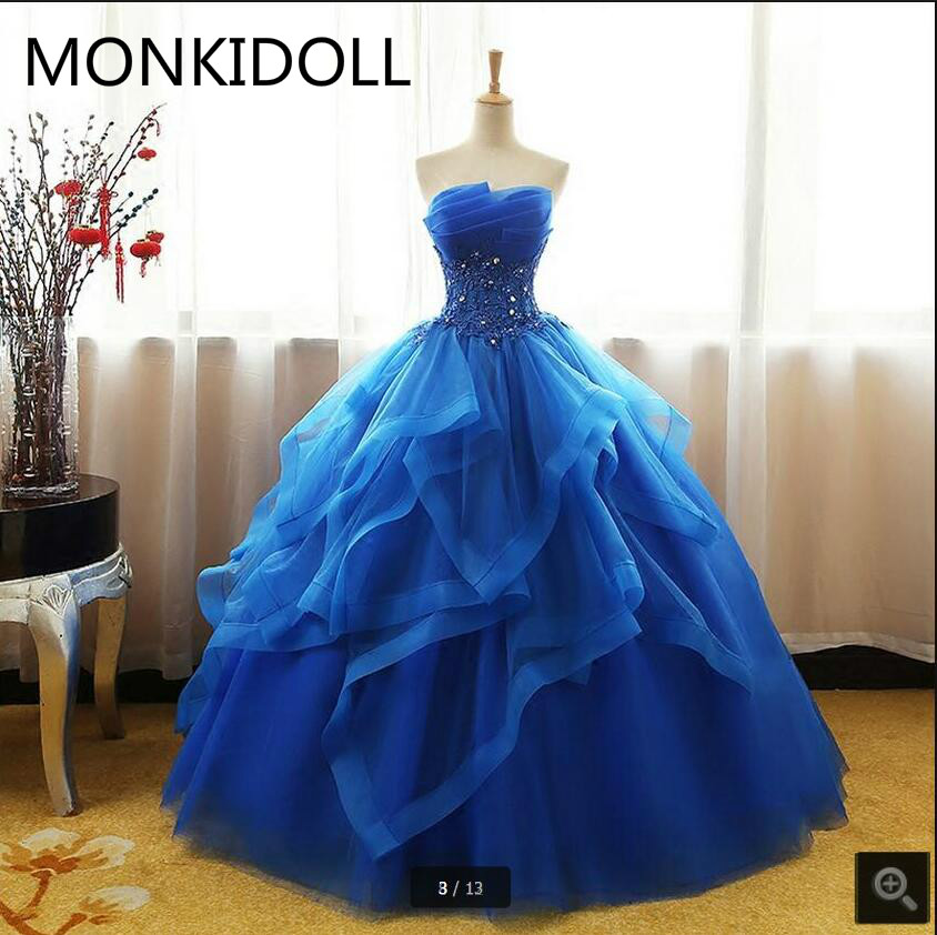 Ball-Gown Prom-Dress Beaded Crystals Appliques Strapless Royal-Blue Ruffled Lace Real-Picture