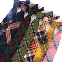 Новинка; одежда в клетку; хлопковые Узкие галстуки повседневные шеи галстук-бабочка для Для мужчин костюмы Для мужчин s тонкий галстук-бабочка для Бизнес Галстуки 7 см Ширина жениха галстуки