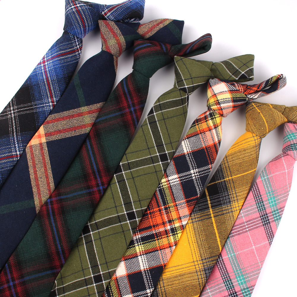 New Plaid Cotton Ties Skinny Causal Neck Tie For Men Suits Mens Slim Necktie For Business Cravats 7cm Width Groom Neckties