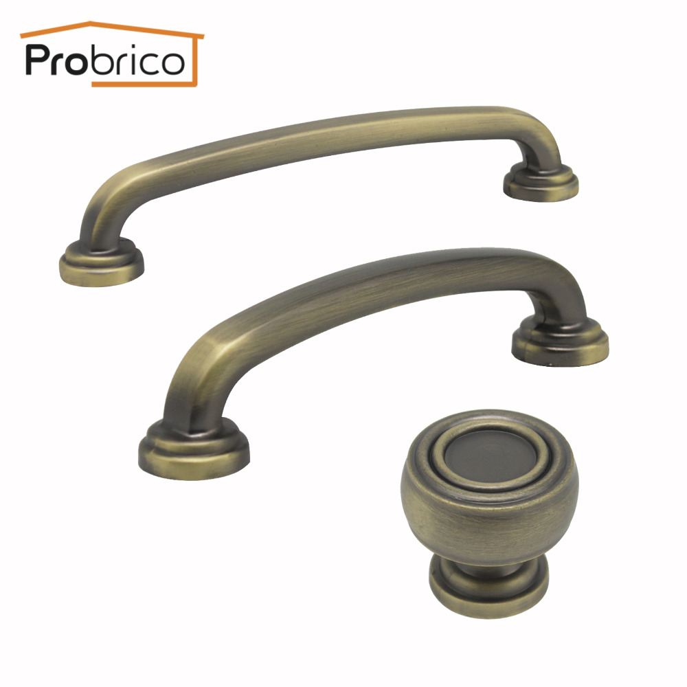 Probrico Vintage Cabinet Handles 96mm Antique Bronze Kitchen Cupboard Dresser Door Pulls 128mm Drawer Knobs Furniture Harware vintage brass kitchen furniture file cabinet cabinet door knobs and handles antique bronze drawer door knobs pulls handle hw204