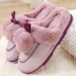 224d1ef8deb Mulheres Chinelos de Inverno Femininos Sapatos Casa Quente De Pele Senhora  Chinelos De Pele com Bolas