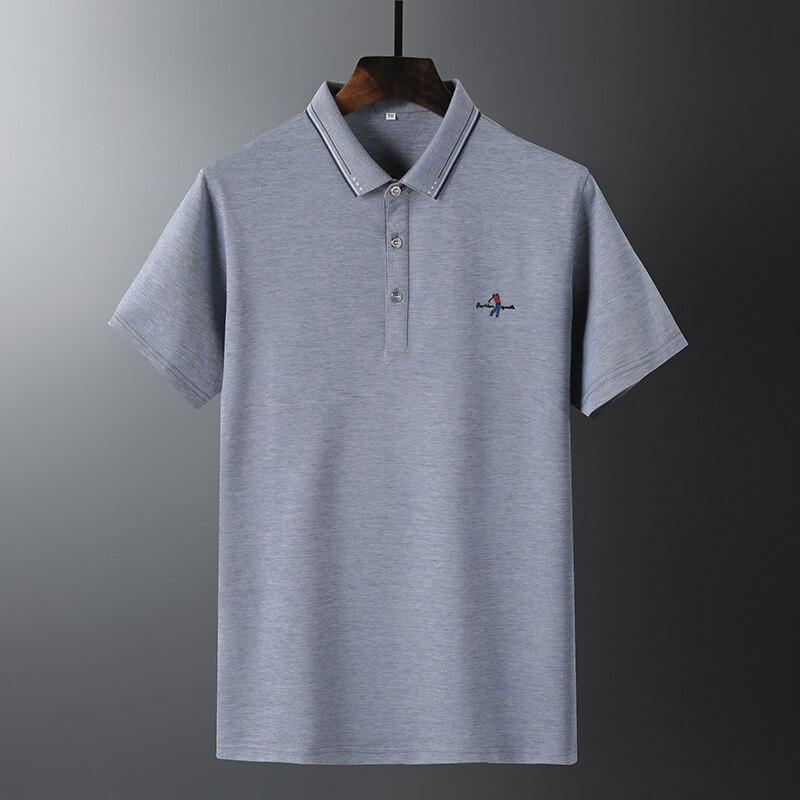 Homme Polo homme piqué broderie joueur de Golf motif extensible Polo hommes chemises coton mercerisé Style classique Polos Hombre