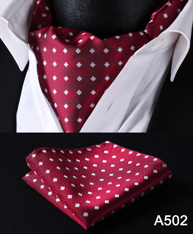 Image 4 - Polka Dot 100%Silk Ascot Pocket Square Cravat, Casual Jacquard Dress Scarves Ties Woven Party Ascot Handkerchief Set #A5-in Men's Ties & Handkerchiefs from Apparel Accessories on AliExpress