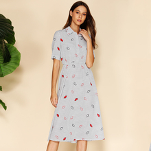 купить BEFORW Vintage Dot Lip Print Women Dress Short Sleeve Turn-Down Collar A-line Streetwear Dresses Casual Summer Dress 2019 дешево