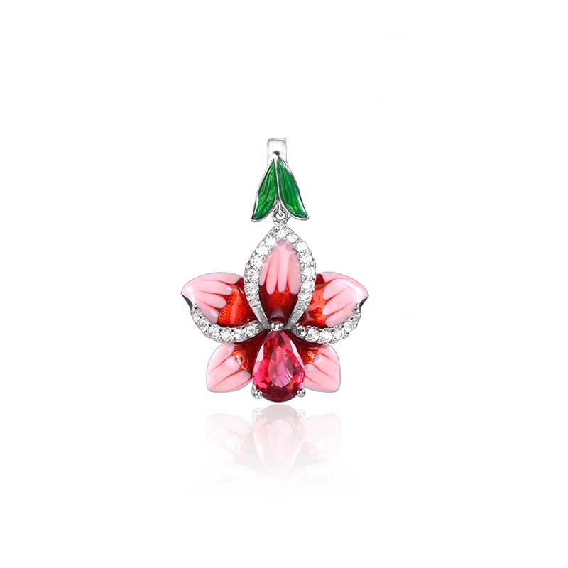 2018 New Pink Enamel silver orchid Jewelry Set (stub Earrings Pendant ring) Authentic 925 Sterling Silver Jewelry DIY Making (2)