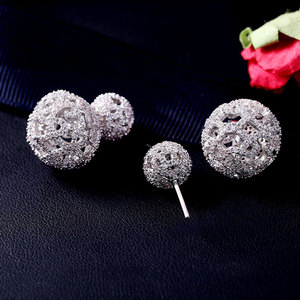 Image 4 - Luxury Full Micro Cubic Zirconia Pave Double Sided Hollow Balls  Jacket Earrings Trendy Costume Jewelry