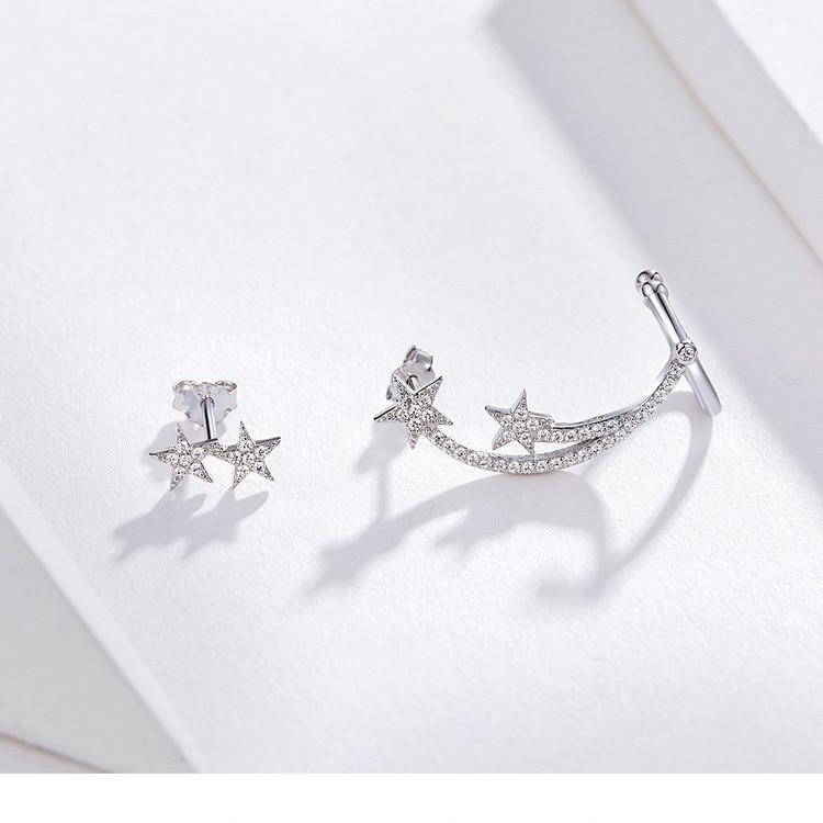 HTB1z0lPVYPpK1RjSZFFq6y5PpXap BAMOER Star Comet Asymmetry Stud Earrings for Women Clear CZ Bright Meteor Ear Stud 925 Sterling Silver Jewelry Femme BSE087