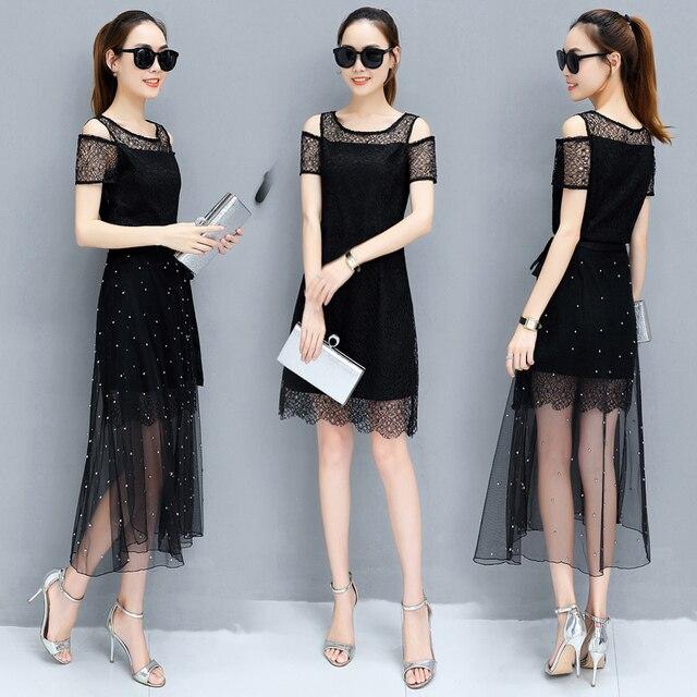 cd1f2b597d97a مثير سيدة فساتين الصيف ملابس جديدة الكورية أزياء اللباس ملابسها الجنية  فستان طويل الغزل الدانتيل vestidos
