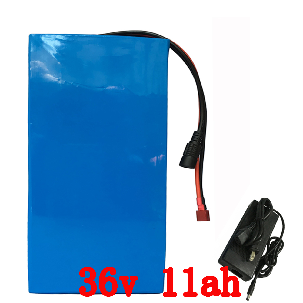Hot sale 36V Lithium Scooter Battery 500W 36V 11AH Ebike Battery with PVC case 15A BMS 42V 2A charger free customs free shipping hot sale b 05 48v10 4ah ebike tube battery