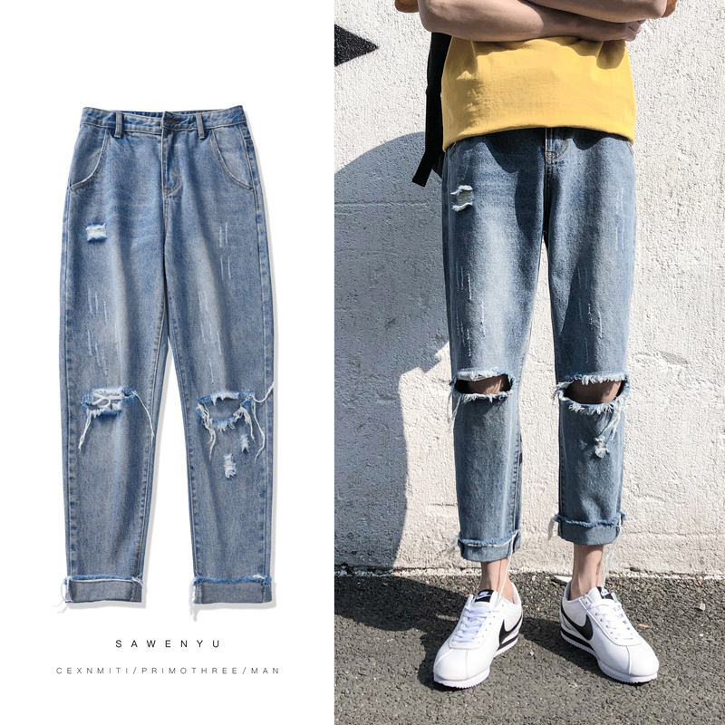 2018 New Men Fashion Casual Blue Holes Thin Small Straight Leg Denim Pants Stretch Slim Fit Jeans Homme Cowboy Trousers S-2XL