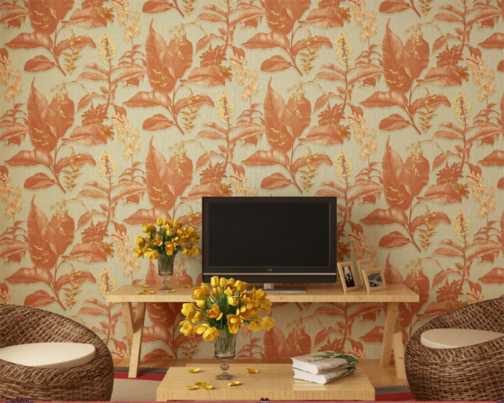 Beibehang Southeast Asian Style Leaf Flower 3D Wallpaper Living Room Bedroom Background walls Wallpaper Roll papel pintado pared  free shipping southeast asian style elephant mural background wall thickened wear high quality living room bedroom wallpaper