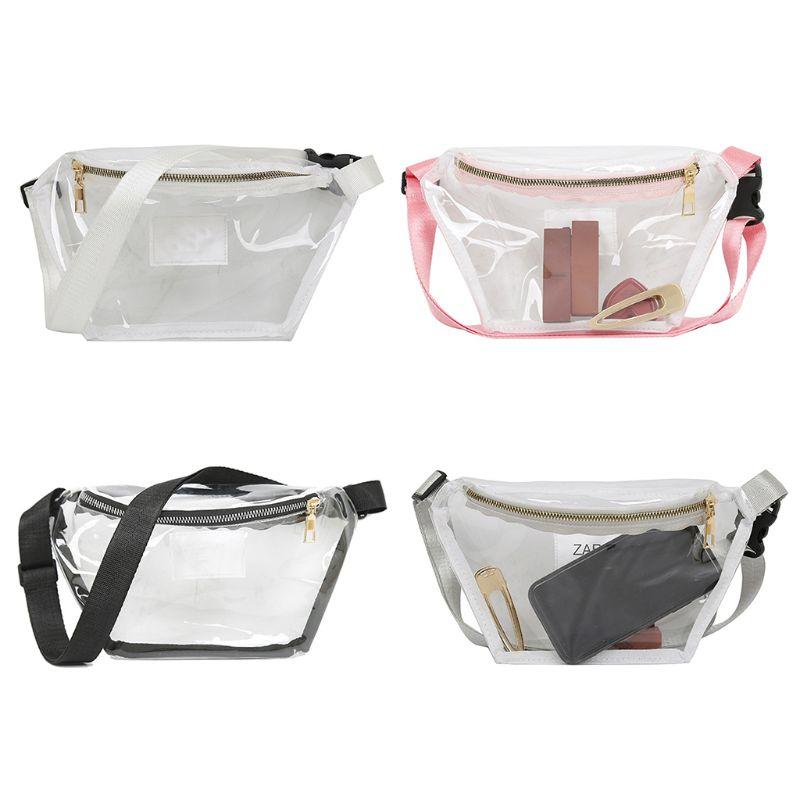 2019 Fashion New Women Transparent Waist Bag PVC Fanny Hip Pack Girls Lady Casual Phone Pouch Shoulder Chest Purse Belt Bum Bag