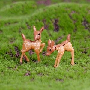 2PCS Artificial Mini Sika Deer Giraffe Fairy Garden Miniatures Gnomes Moss Terrariums Resin Crafts Figurines Home Decoration