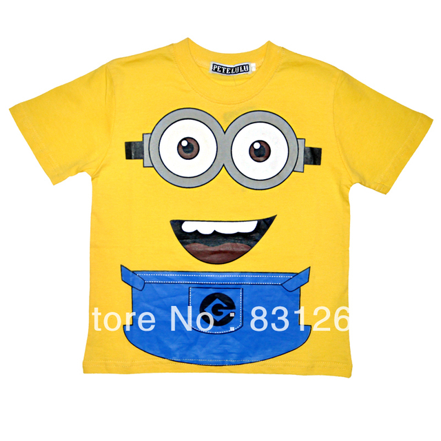 Free Shipping 6pcs/lot New 2014 Hot Sale Despicable Me 2 Kid Boys Clothing 100%Cotton Short Sleeve Cartoon T shirt Despicable Me