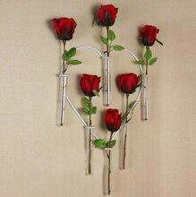 Decoración de la boda de la manera Creativa florero florero de cristal en forma de Corazón titular vaso de pared de hierro forjado de flores decoración del hogar