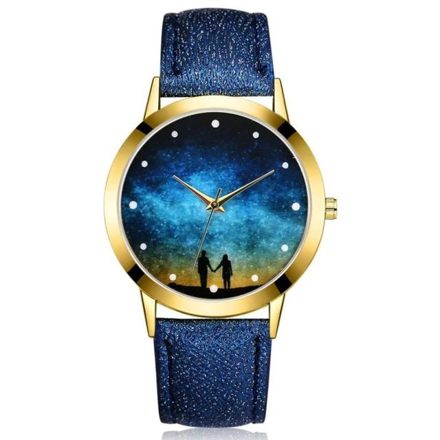 Fashion Women Watches Casual Dress Starry Sky Pattern Leather Band Quartz Wrist