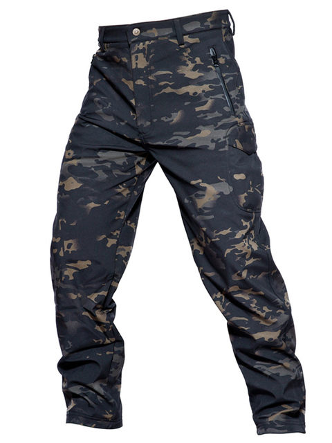 MEGE Soft Shell Tactical Camouflage Pants Men Combat Waterproof Military Cargo Warm Fleece Camo Winter Warm Army Modis Trousers