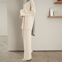 sweater two pieces suit Wide Leg Pants Set 2018 women's spring and autumn new fashion temperament loose autumn knitted pants