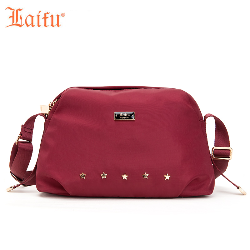 Laifu 2018 New Vintage Messager Bag Fashion Women Casual Crossbody Bag Nylon Waterproof Lightweight Durable, Blcak, Wine Red