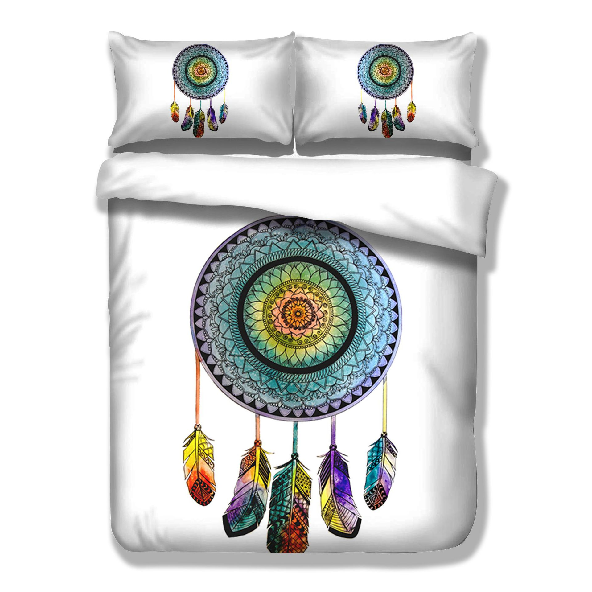 India Bohemian Style Bedding Set Feather Printed Bedlinen Set Queen Size Datura Duvet Cover Pillowcase Dreamcatcher Us King Size Power Source