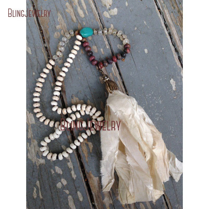 Bohemian Sari Silk Tassel Necklace Turquoises Rondelle Beads Hand Knotted Necklace NM20614