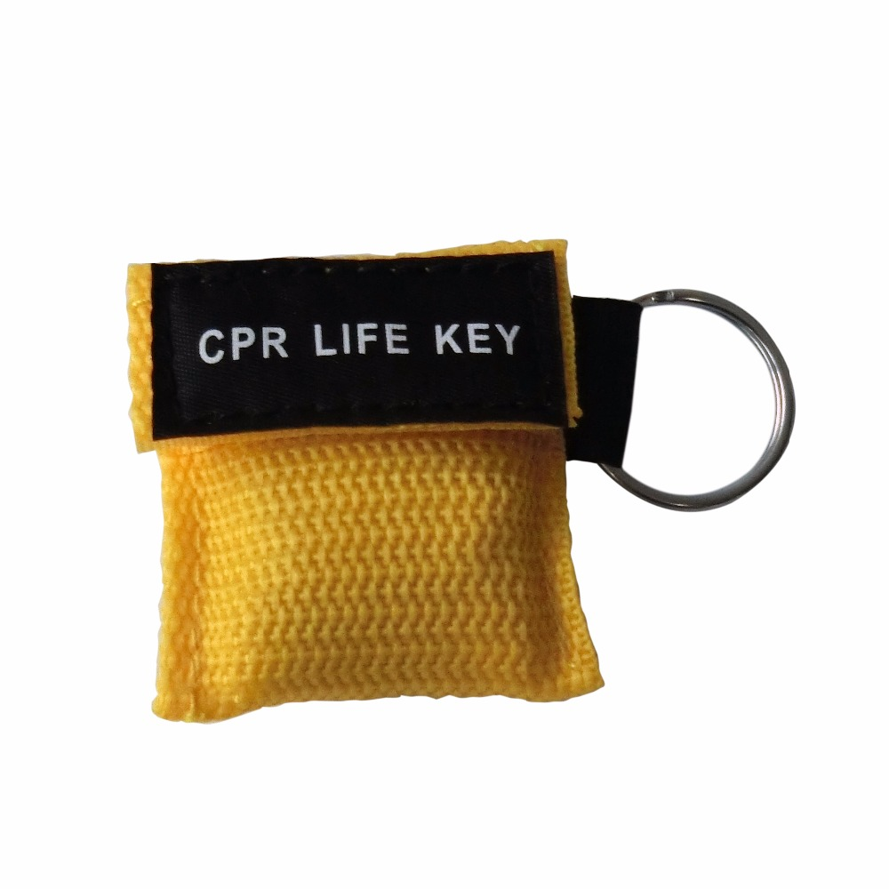 850Pcs First Aid CPR Mask CPR Resuscitator Key Ring Keychain One Way Valve Emergency Rescue Kit With Yellow Nylon Pouch