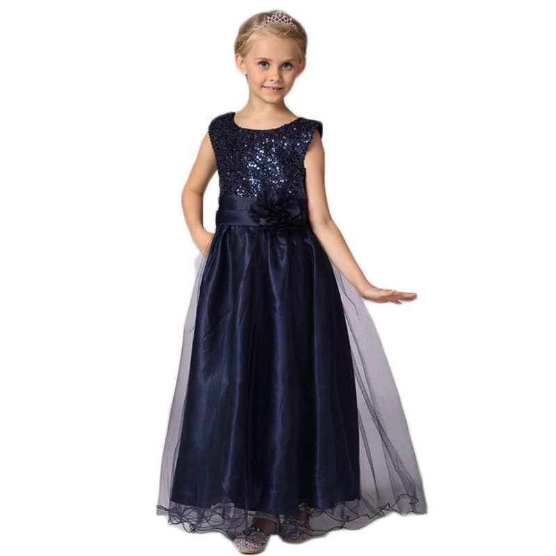 3-8years Summer Hot Selling Baby Girls cute Flower sequins Dress High quality Party Princess Dress Children kids clothes 5 color