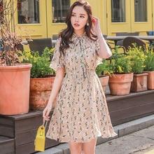 Dabuwawa New Summer Floral Print V-Neck Dress Women Ladies Girls Elegant Tie Bow Ruffles Holiday Dresses D18BDR157