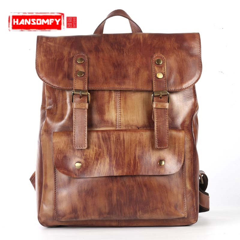 Original first layer leather men backpack cow leather shoulder bag retro backpack travel bag leisure large male bag