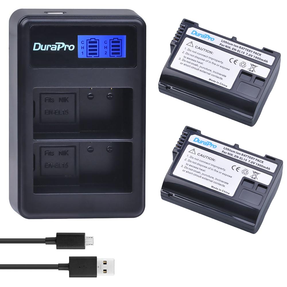 2 x DuraPro EN-EL15 ENEL15 EN EL15 Battery + LCD USB Dual Charger for Nikon D800E D800 D600 D7100 D7000 D7100 V1 MB-D14 Camera2 x DuraPro EN-EL15 ENEL15 EN EL15 Battery + LCD USB Dual Charger for Nikon D800E D800 D600 D7100 D7000 D7100 V1 MB-D14 Camera