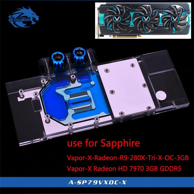 Bykski Graphics Card Water Block use for Sapphire-Vapor-X-Radeon-R9-280X-Tri-X-OC-3GB / Vapor-X Radeon HD 7970 3GB / Full Cover