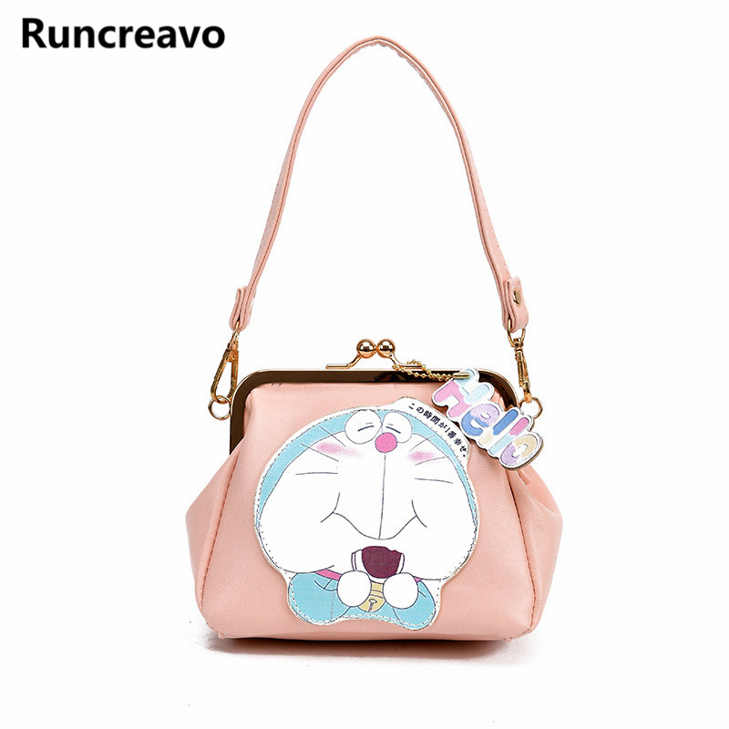2018 New Fashion Korean cartoon printing Doraemon women shoulder messenger bags pu letaher handbags for girls bolsa feminina sac