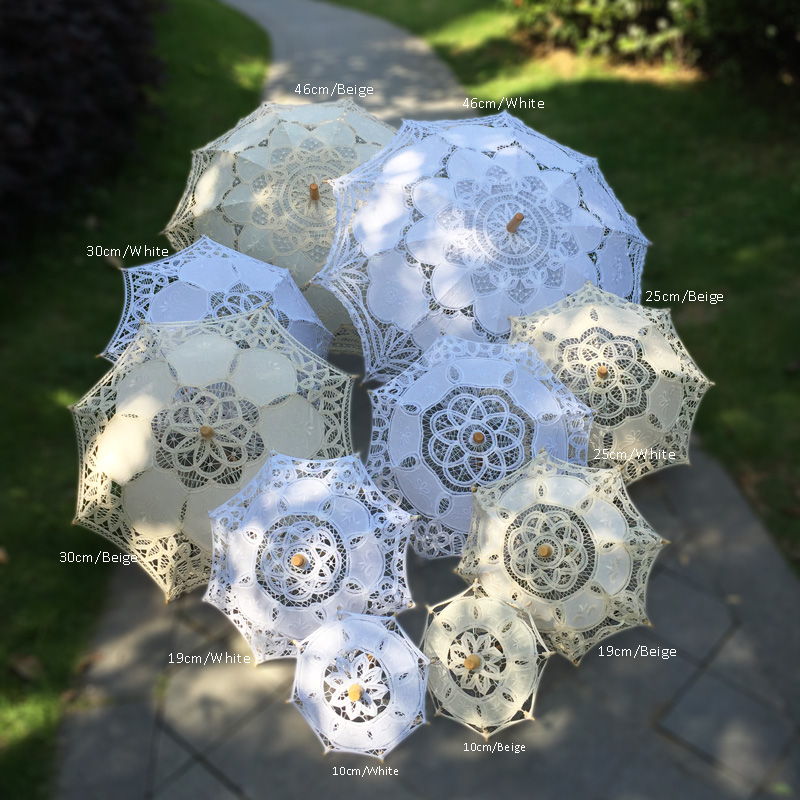Handmade Victorian Theme Party Shower Wedding Table Tea Party White Beige 10pcs Set Decoration Lace Parasol
