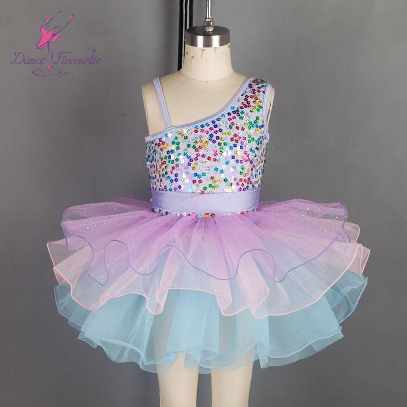 18289 Sequin top bodice ballet tutu girl stage performance ballet tutu mixed color ballet dance costume kids tutu