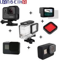 LANBEIKA Protect Frame + 45m Waterproof Case + Filter Lens + Rubber Case + Screen Protector Film For Gopro Hero 6 5 Hero5 Hero6
