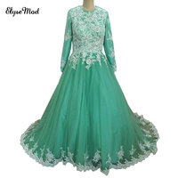 Ball Gown Real Photo High Quality Appliques Scoop Long Sleeves Green Quinceanera Dress 2018 Prom Dresses