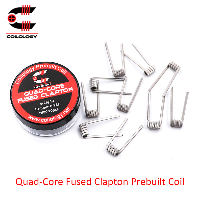 10pcs/lot Coilology Quad-core Fused Clapton Coils For Atomizer Tank Vaporizer RDTA RDA RTA Vape Wire