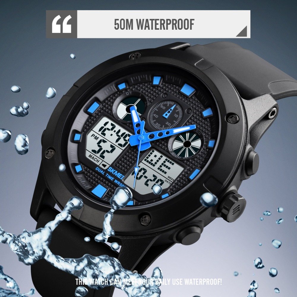 <font><b>SKMEI</b></font> <font><b>1514</b></font> Waterproof Men Sport Watches Male Relojes Hombre Fashion Digital Wristwatches Dual Display Watch Clock Men image