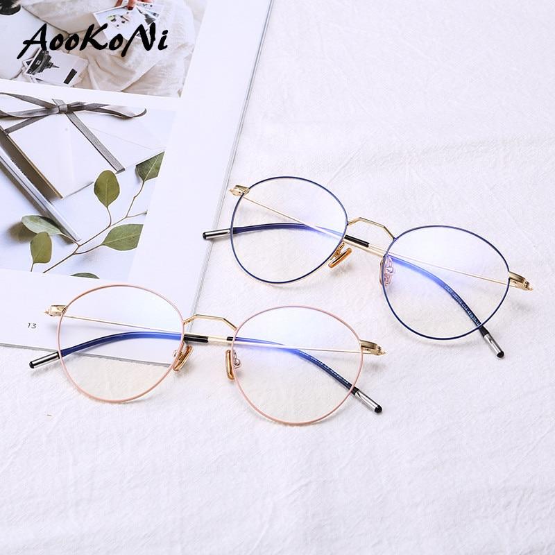 d1ea18cc718a Round Business Student Literary Retro Full Metal Plain Frame Japan South  Korea Lightweight Fashion Optical Glasses