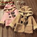 2016 Inverno quente Casaco Meninas Moda Infantil Roupas Meninas Manga Longa Com Capuz Outwear Berber Casaco de lã para os bebés