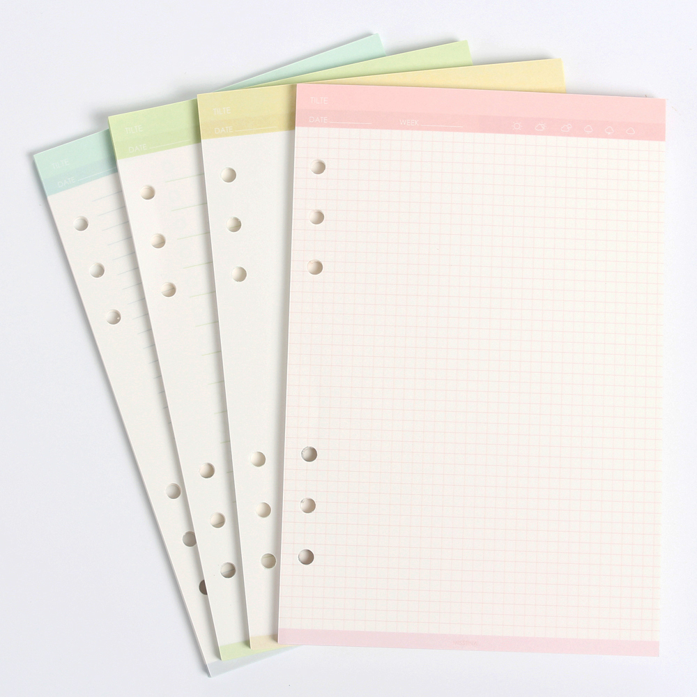 New Creative Cute 6 Holes Assorted Replacement Inner Paper Core For Spiral Binder Notebook:grid,to Do ,line,blank A5A6