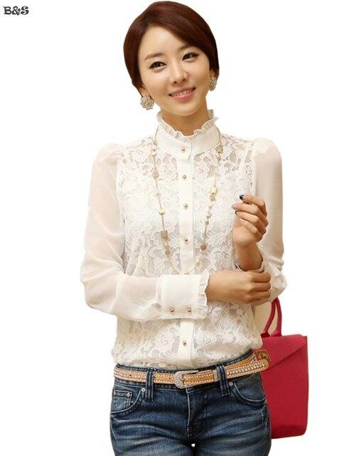 Elegante mujer de manga larga blusa para mujer blancas de encaje  transparente Floral con cuello de 023721a63794