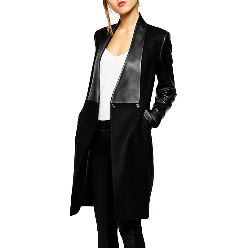 2019 New Spring PU Long Sleeve Splice Cardigan Women Trench Coat Fashion Elegant Slim Long   Leather   Jacket Female Coat