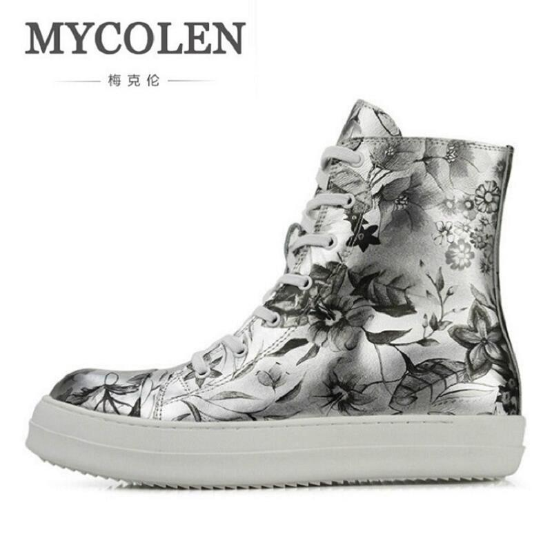 MYCOLEN Luxury Fashion Brand Mens Shoes Casual Leather High-Top Ankle Boots Lace-Up Martin Boots Chaussures Hommes En Cuir fonirra new fashion high top casual shoes for men ankle boots pu leather lace up breathable hip hop shoes large size 45 728