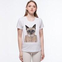 Summer Harajuku Girls Top Van European Aristocracy Retro Lady Cat Design T Shirt Gogh Crop