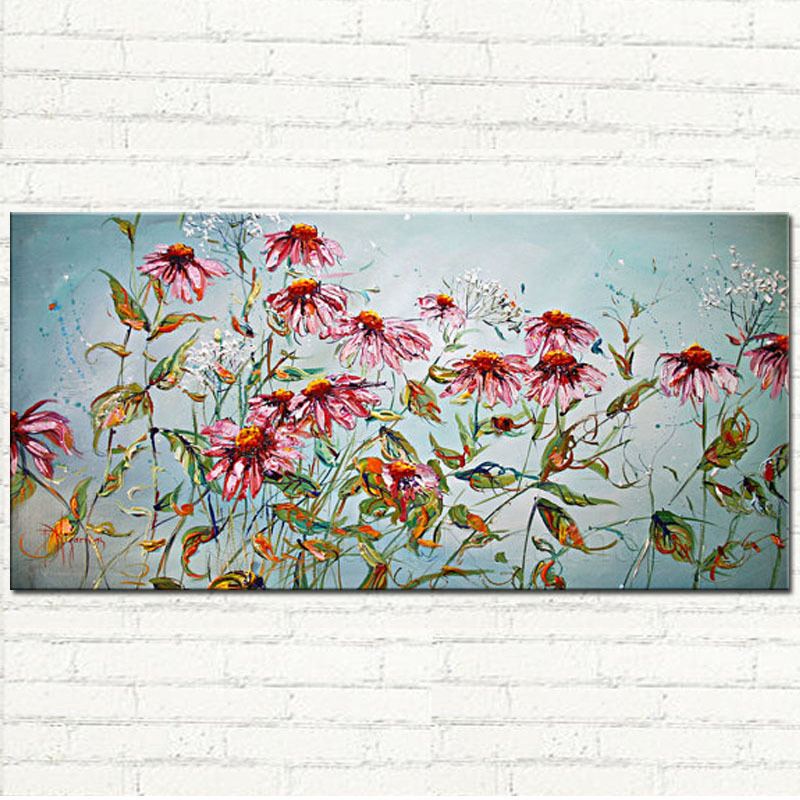 Handpainted thick textured abstract Summer Daisies flower oil painting on cnavas for wall decoration