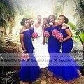 Venda quente Azul Royal Da Dama de honra Vestido Pescoço Barco Fora Do Ombro Sexy Vestido De Festa Longo Sereia Vestido de Dama de honra Do Casamento Africano